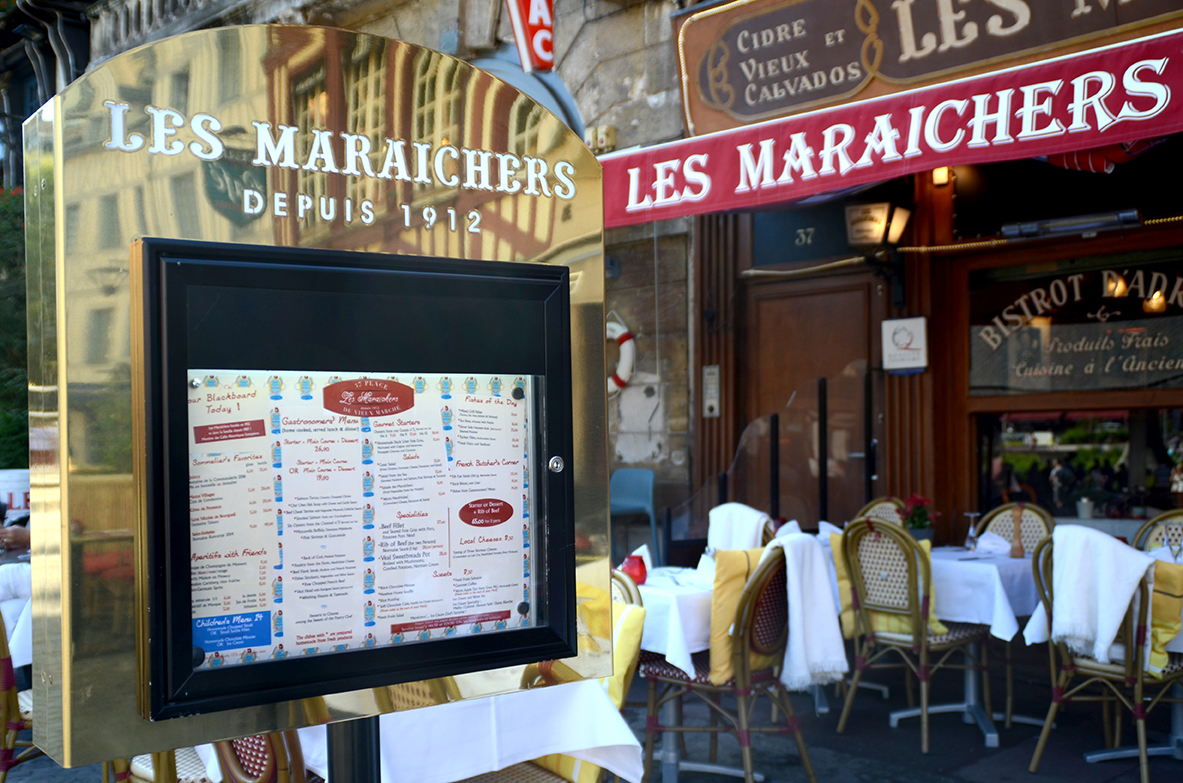 Menu traditionnel du restaurant Les Maraîchers